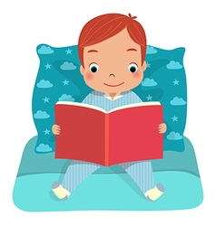 A boy reading book on bed vector