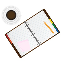 Organizer and coffee vector