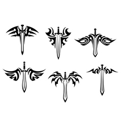 Tribal tattoos with swords and daggers vector