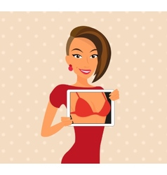 Woman wearing red dress is flirting using tablet vector