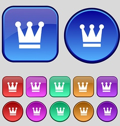 King crown icon sign a set of twelve vintage vector