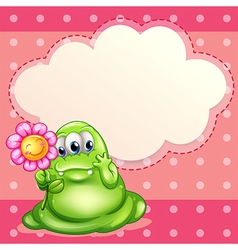A green monster holding a flower vector