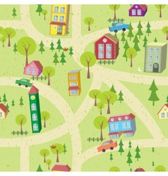 Cartoon map seamless pattern with houses and roads vector