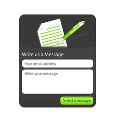 Dark contact form with light paper and green vector