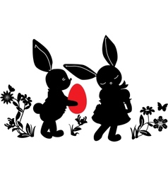 Bunnies with egg gift vector