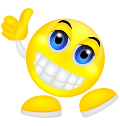Smiley emoticon with thumb up vector
