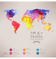 Watercolor map web and mobile template corporate vector