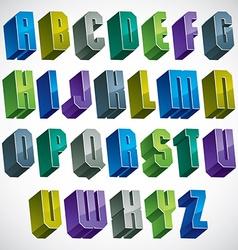 3d colorful letters geometric alphabet vector
