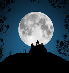 Full moon with castle and trees vector