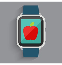 Red apple on watch vector