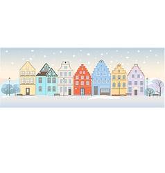 Winter cityscape with retro houses vector