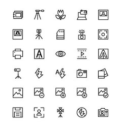 Photography line icons 4 vector