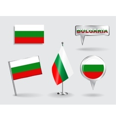 Set of bulgarian pin icon and map pointer flags vector
