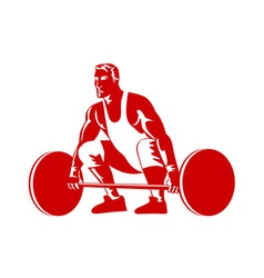 Weightlifter preparing to lift weights vector