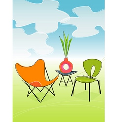 Retro outdoor patio vector