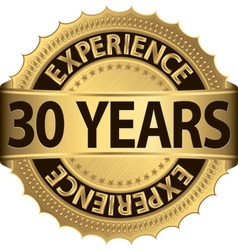 30 years experience golden label with ribbon vector