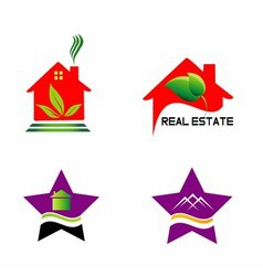 Set isolated house logo real estate sign vector