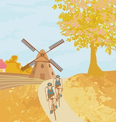 Bike training in the autumn vector