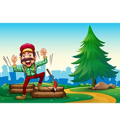 A lumberjack shouting while chopping the woods vector