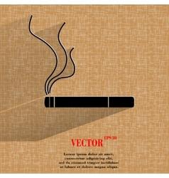 Smoking sign cigarette flat modern web button on a vector