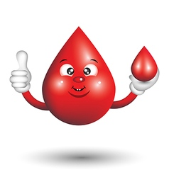 Blood drop cartoon character smiling and giving a vector