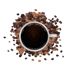 A hot coffee with roasted coffee beans vector