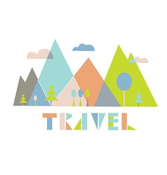 Travel logo or card with mountains vector