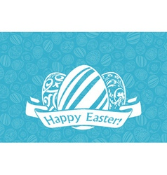 Easter holiday card with eggs and ribbon vector
