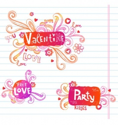 Love doodle frames vector