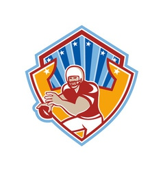 American football quarterback star shield vector