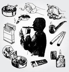 Smoking set vector