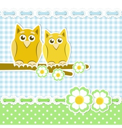 Romantic background with owls on blossoming branch vector