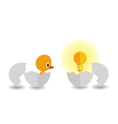 Hatched chick and light bulb vector