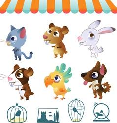 Set of cartoon pets vector