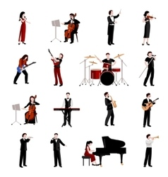Musicians icons set vector