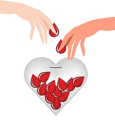 Hand donate blood drop put in heart glass vector