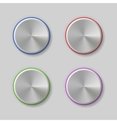 Four volume control dial button with color light vector