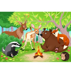 Funny animals stay together in the wood vector