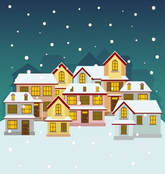 Old winter town vector