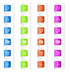 Bookmarks with system icons in four colors vector