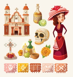 Set of items for day of the dead vector