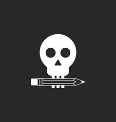 Pencil and skull mockup logo of design studio or vector