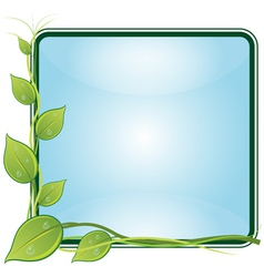 Twig with leaves in square frame vector