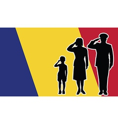 Romania soldier family salute vector