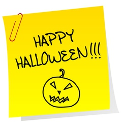Sheet of paper with happy halloween message vector