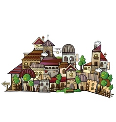 Cartoon construction town vector
