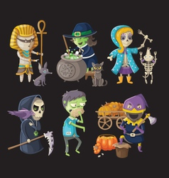 Costumes and haloween characters vector