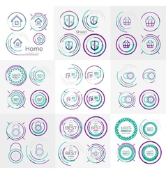 Thin line neat design large logo collection vector