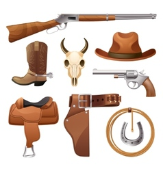 Cowboy elements set vector