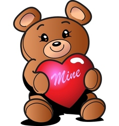 Heart teddy bear vector